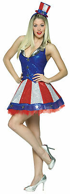 Aunt Samantha Patriotic Adult Women's Costume Blue Sequin Halter Top Fancy Dress (Patriotic Costumes For Women)