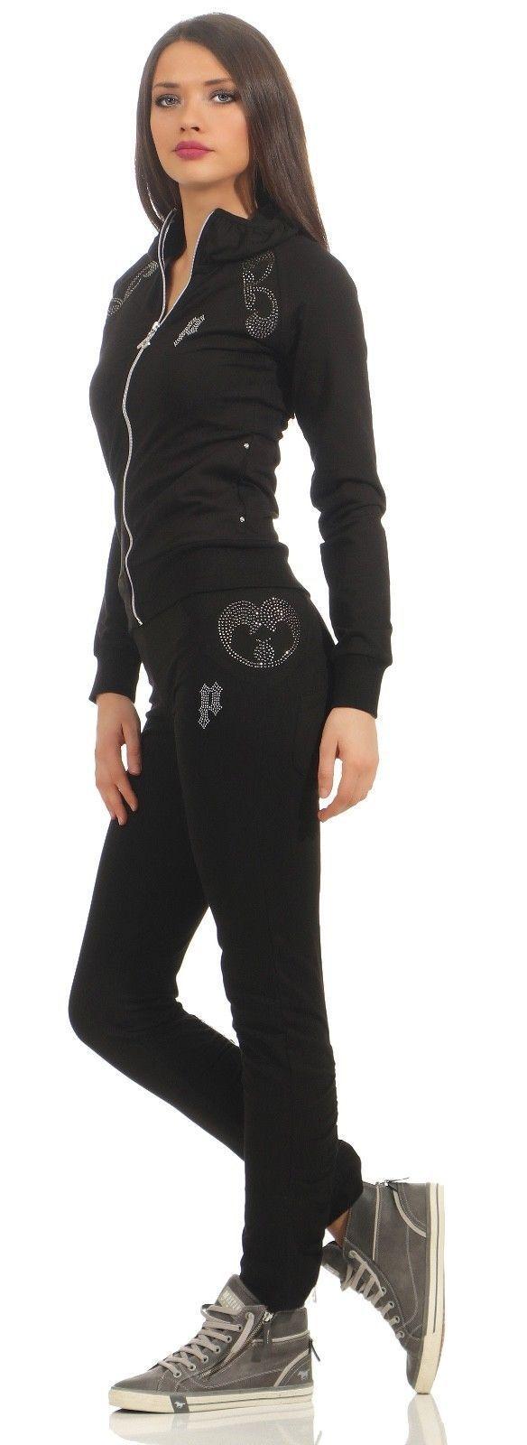 Pari Line Anzug Jogginganzug Wohlfühlanzug Trainingsanzug Schwarz Hausanzug Dame
