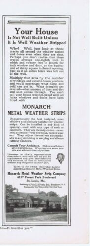 1916 Ad - MONARCH METAL WEATHER STRIP CO., ST. LOUIS, MO