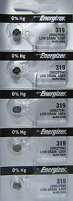 Energizer 319 (SR527SW) Silver Oxide Watch Batteries (1 pack of 5)