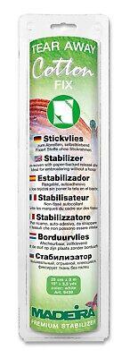 Madeira weißes Stickvlies 9439 TEAR AWAY Cotton FIX Stickerei Caps Rahmen - 3m ()