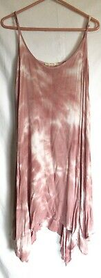 - HEART HIPS, TIE DYE SUN DRESS, L, ASYMMETRICAL, ROSE PINK, WORN ONCE! BEAUTIFUL!