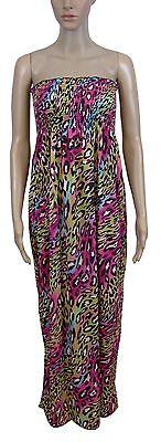 NEW! Neon Pink Green Multi Animal Print Boob Tube Floaty Maxi Dress Size 8 10 12 Animal Print Tube Dress
