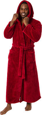 Ross Michaels Mens Luxury Hooded Full Length Big and Tall Long Bath Robe Big Mens Robes
