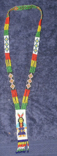 Native American Necklace Apache Beaded Image of Woman Hand Crafted Vintage 1950s