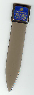 VINTAGE LETTER OPENER ADVERTISING SHEDD BROWN INC. TULSA, OK. TINTED LUCITE