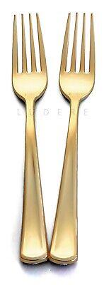 Gold Plastic Silverware (120 Premium Gold Plastic Forks Disposable Extra Heavy Duty Silverware)