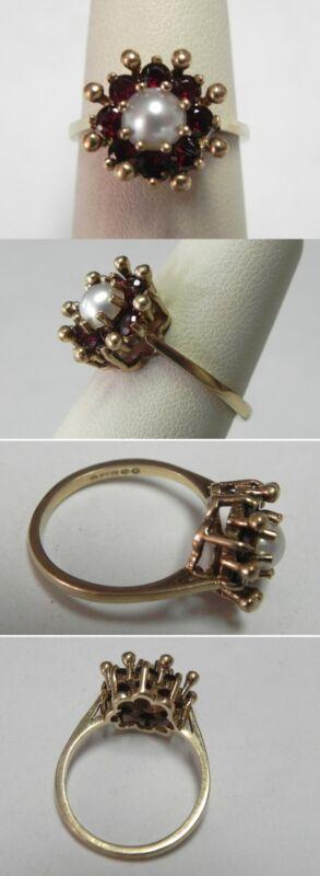 C222 Vintage 9K 375 Solid YG Ladies Garnet & 5.7mm Pearl Cocktail Ring, Sz 6.75