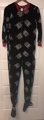 Womens M 7/9 Black Fleece Footed Blanket Sleeper Pajamas White Owls W/ Red Trim Fleece Blanket Sleeper Pajamas