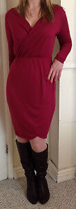 BNWOT Ex- High Street Black/Burgundy Sexy Jersey Wrap Drape Party Dress Free P&P