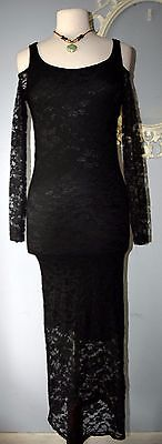 Long Black LACE Exposed cut out shoulder Wiggle Morticia Dress fitted Small S NW (Black Morticia Dress)