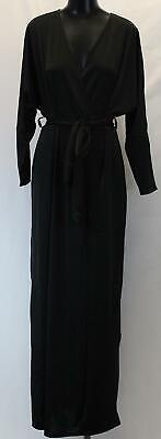Boohoo Women's Plus Slinky Plunge Split Maxi Dress JH7 Black Size US:18 NWT