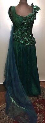 Karneval Kostüm Meerjungfrau grüne Korsage mit Applikation, Plisseerock 34/36 - Meerjungfrau Kostüm Röcke