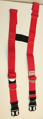 Nos Firefighter Suspenders Red Padded H Style Inno Tex Rwp-r Turnout Gear