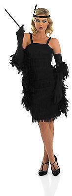 Damen Schwarz 1920er Jahre Gatsby Flapper Kostüm Kleid Outfit UK 8-30 - Übergröße Schwarz Flapper Kostüm