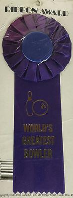 Worlds Greatest Bowler Award Ribbon Purple