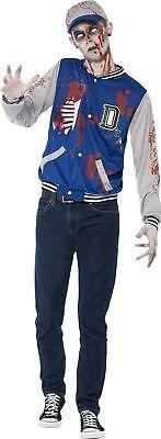 Teen Zombie Costume (Smiffy's Teen Boys' Zombie Jock Costume Jacket and Hat Halloween Size XS)