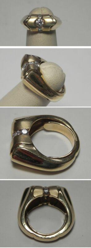 C1471 Vintage 14K Solid YG .45ctw Diamond Satin/Polished Fashion Ring, sz 3.5