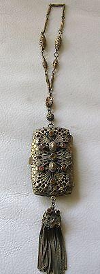 Antique Victorian Amber Jewel Filigree Bar Chain Coin Holder Dance Purse Compact