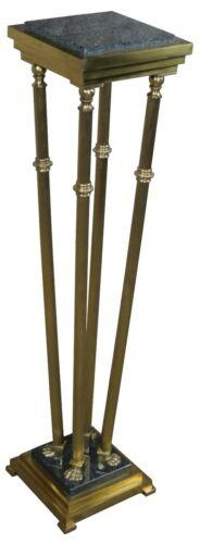 "Italian Regency Style Brass & Granite Pedestal Plant Stand W/ Paw Feet 42"""