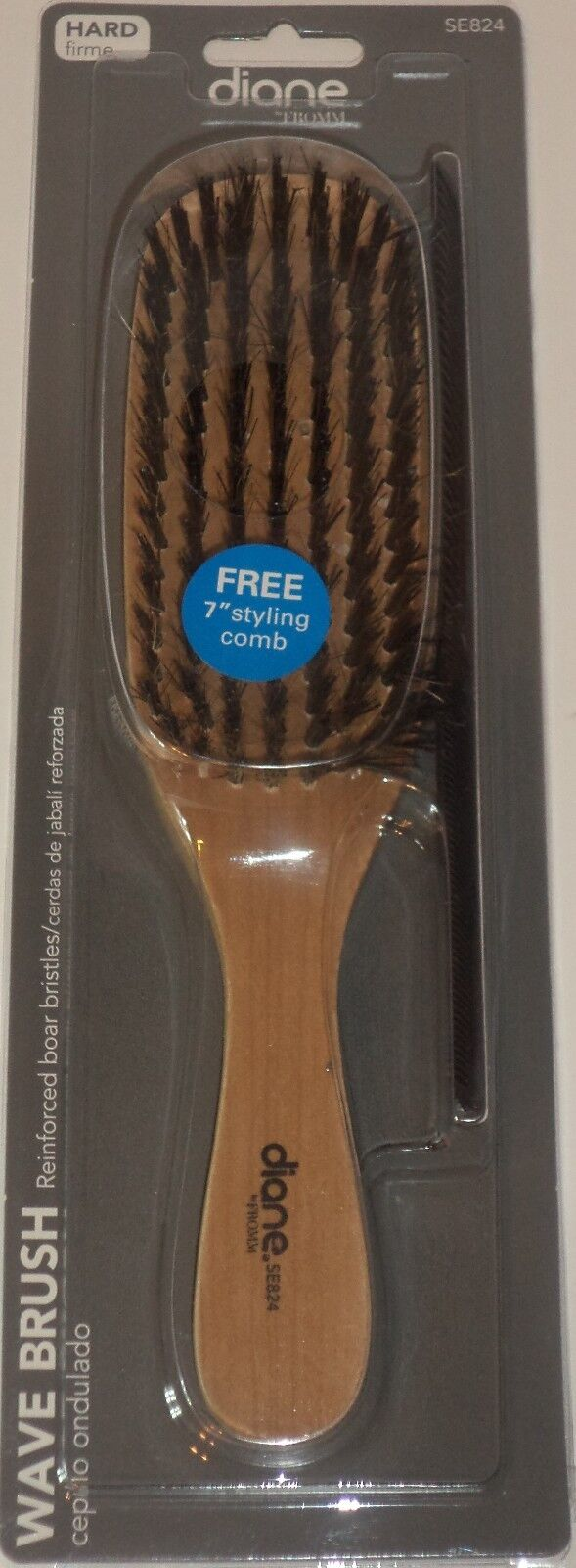 """Diane Soft and Hard Wave Brush SE802 with 7"""" Styling Comb"""