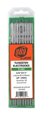 Sa - Pure Tungsten Electrode - Tig - 332 X 7 - Green Tip - 10 Pack