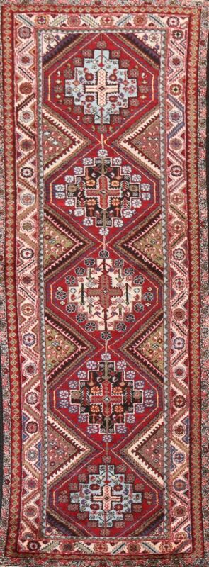 Vintage Geometric Traditional Hand-knotted Runner Rug Wool Oriental Carpet 3x11