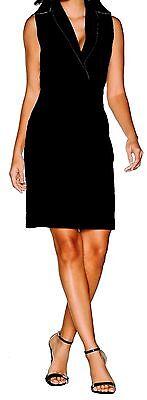 Etuikleid Cocktailkleid Sommerkleid schwarz mit Reverskragen Stretchkleid NEU
