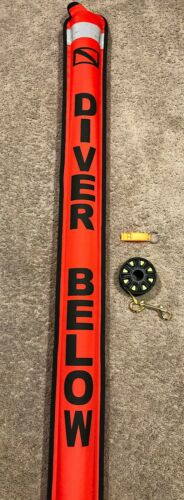 Surface Marker Buoy w/ Valve 150 ft Reel Whistle SMB Neon Red 6ft Foot Tech Dive