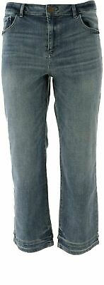 LOGO by Lori Goldstein 5-Pocket Crop Straight Leg Jean w/ Hem - Medium Wash - 10 Logo Pocket Jean