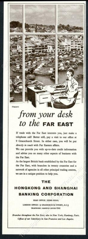 1960 Singapore harbor photo Hong Kong and Shanghai Bank Banking vintage print ad