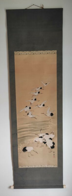 HANGING SCROLL JAPANESE PAINTING FROM JAPAN CRANE Old ANTIQUE ORIGINAL Art