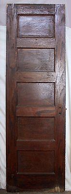 "24""x79 Antique Vintage Oak Wood Wooden Interior Closet Door Beveled Glass Mirror"