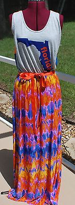 Florida Gators Home Orange Blue Game Day Tank Maxi Dress Upcycled T-Shirts L