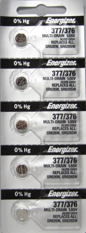 5 NEW ENERGIZER 377 376 SR626SW SR626W watch battery