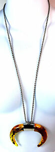MELT-YELLOW-HONEY-BULL-HORN-STATEMENT-LONG-SILVER-CHAIN-NECKLACE-GOTHIC-CL4