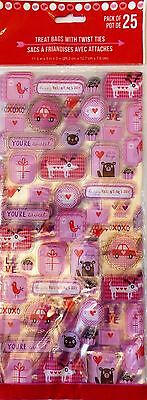 Valentine's Day~25 Treat Bags w Ties Party Treat Goody Plastic Bags~You're Sweet - Valentine Goodie Bags
