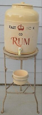 Vintage East India Co RUM Crock with Stand Lid Tray & Drip Cup Corona -