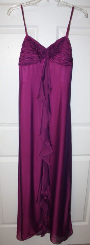 Ladies Rimini Rayon Silk Magenta Full Length Prom Bridesmaid Formal Dress Sz 4