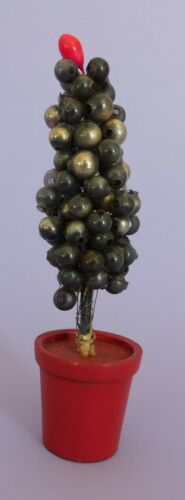 Rare Antique Christmas Decoration Mercury Glass Balls Tree with Wooden Base b C
