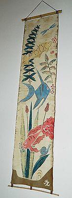 Batik Wandbehang 50er / 60er Jahre mit Fischen - kultig  135 cm hoch
