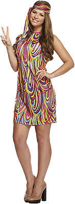 Ladies Groovy Hippy Hippie 60s 70s Decades Multi Fancy Dress Costume Outfit 8-12 (Decades Outfits)