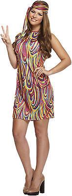 Damen Groovy Hippie 60s Jahre 70s Jahrzehnte Multi Kostüm Kleid Outfit 8-12
