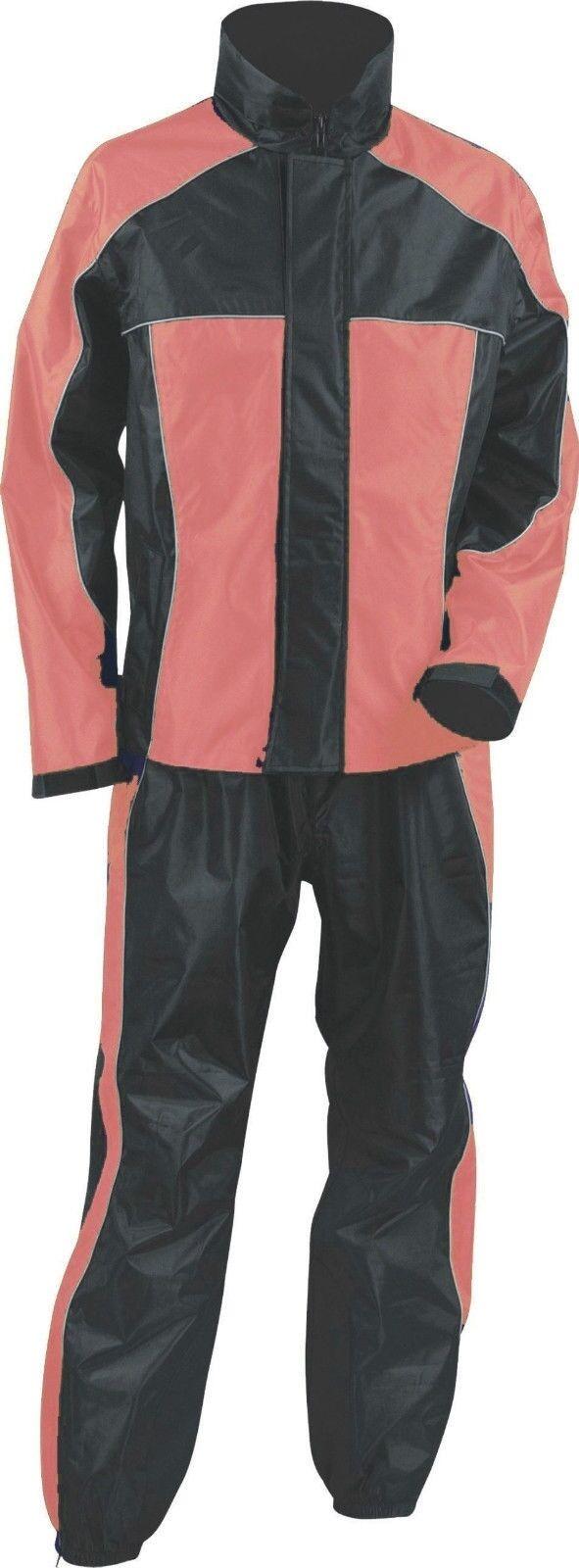 Ladies Women S Motorcycle Rain Suit Rain Gear Pink Black