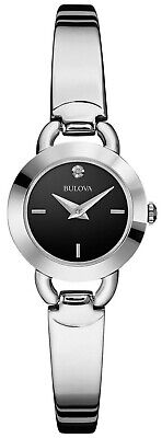 Bulova Women's 96P155 Classic Quartz Black Dial Bangle Band 22mm Watch