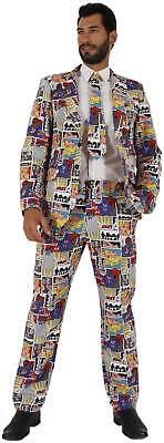 Anzug 3-tlg. Hose Sakko Krawatte Cartoon Comic Karneval Fasching Kostüm 44-62
