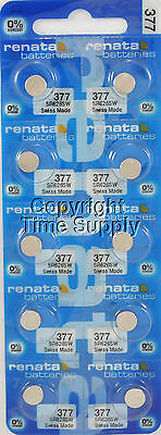 10 pc 377 Renata Watch Batteries SR626SW FREE SHIP 0% MERCURY