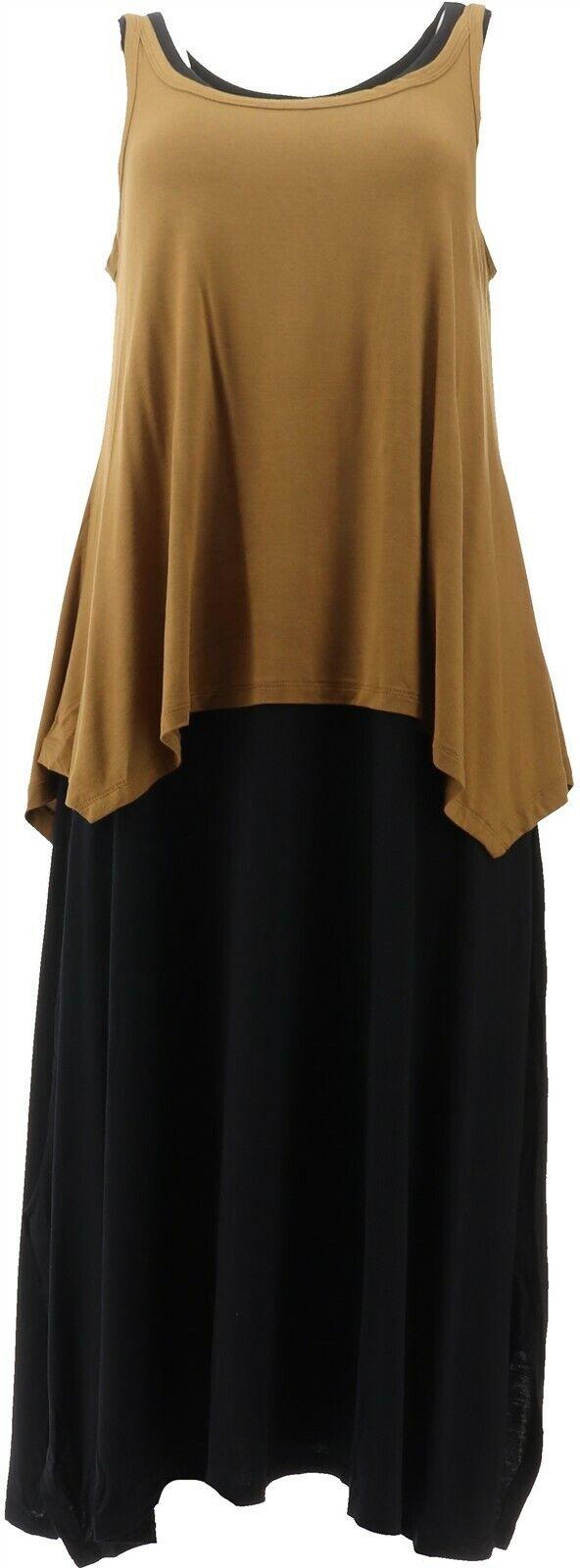 AnyBody Loungewear Short Slv Split Back Tee Indigo Floral XL NEW A302305