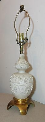 - antique ornate pottery leaf vine berry carved wooden base electric table lamp