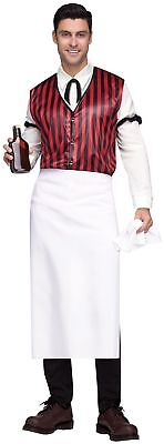 Wild West Saloon Keeper Costume Mens Adult Western Bartender Standard Plus - Male Bartender Halloween Costumes